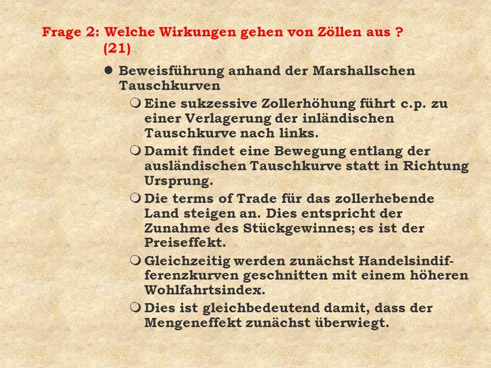 Frage 2: Welche Wirkungen gehen von Zöllen aus (21)