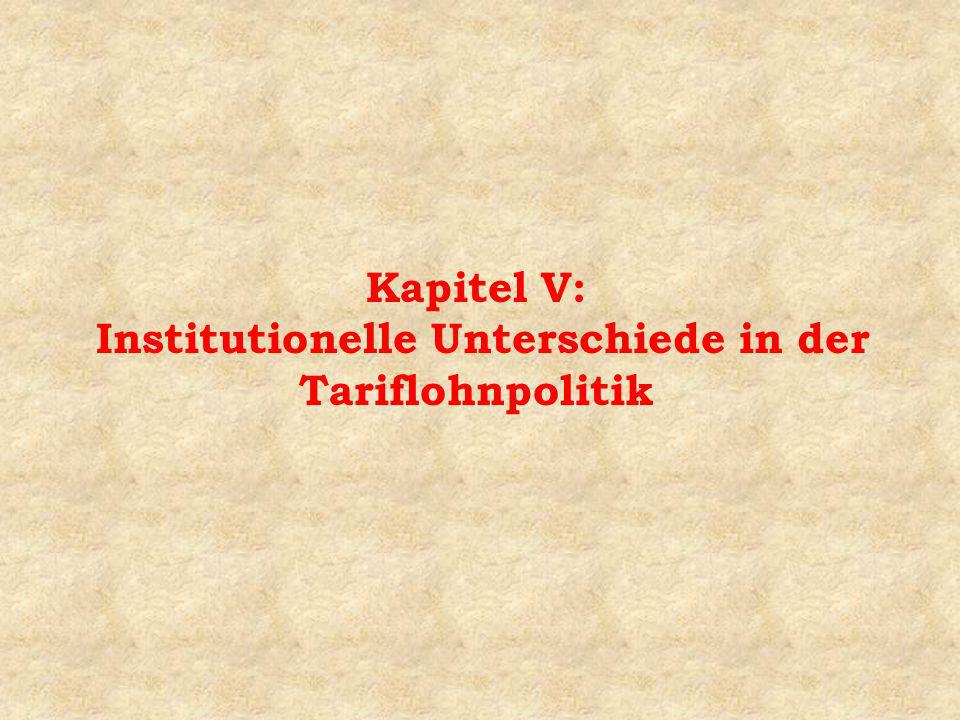 Kapitel V: Institutionelle Unterschiede in der Tariflohnpolitik