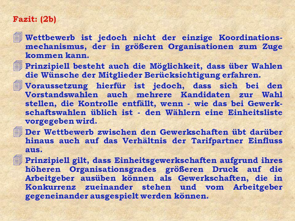 Fazit: (2b) Wettbewerb ist jedoch nicht der einzige Koordinations-mechanismus, der in größeren Organisationen zum Zuge kommen kann.