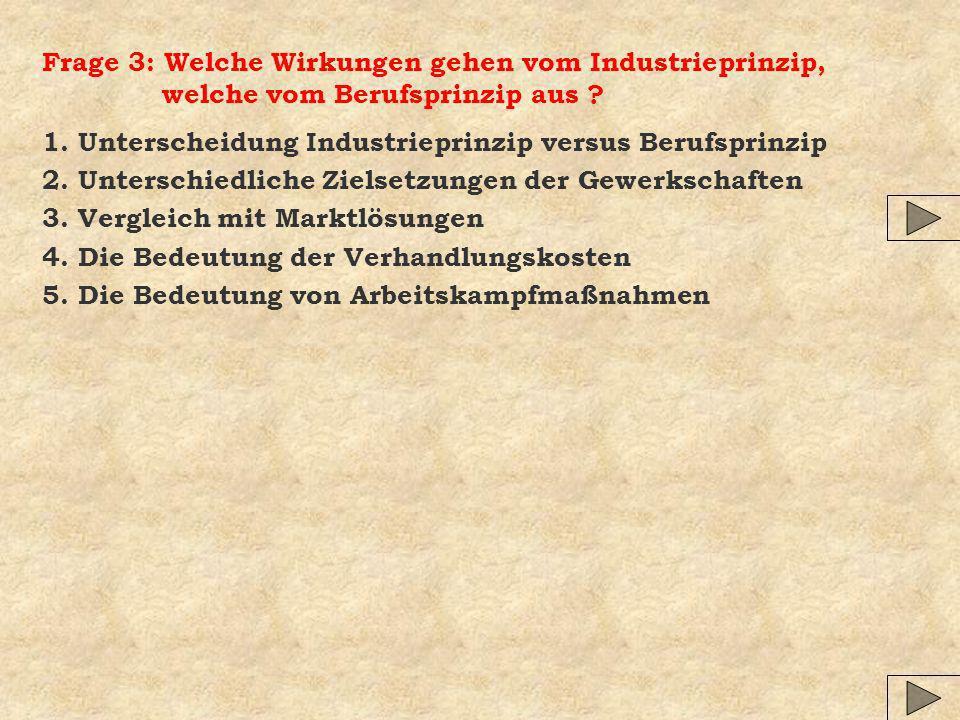 Frage 3: Welche Wirkungen gehen vom Industrieprinzip, welche vom Berufsprinzip aus