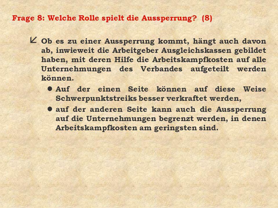 Frage 8: Welche Rolle spielt die Aussperrung (8)