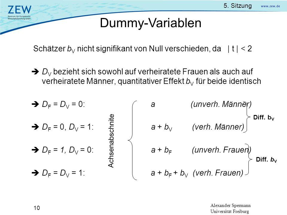 Dummy-Variablen Schätzer bV nicht signifikant von Null verschieden, da | t | < 2.