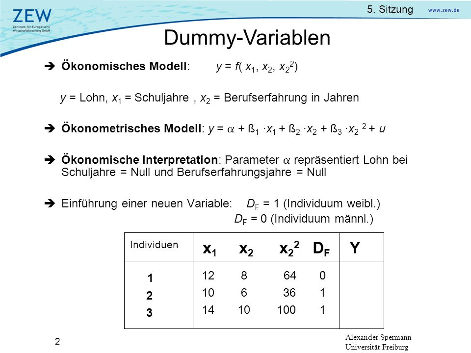Dummy-Variablen 1 Y x1 x2 x22 DF 12 8 64 0