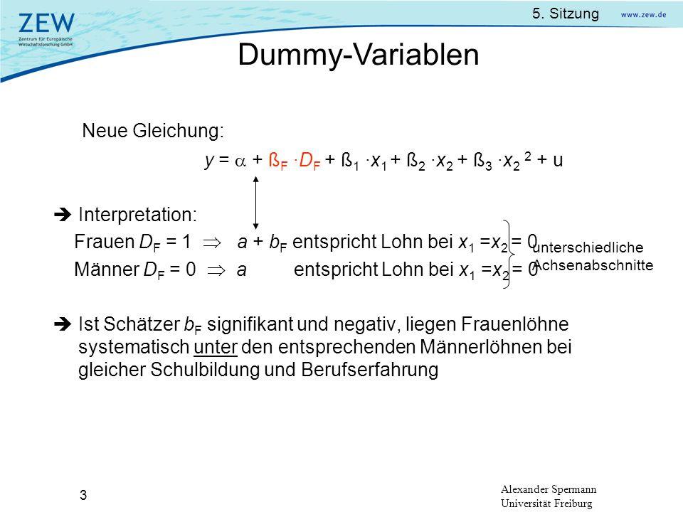 Dummy-Variablen Neue Gleichung: