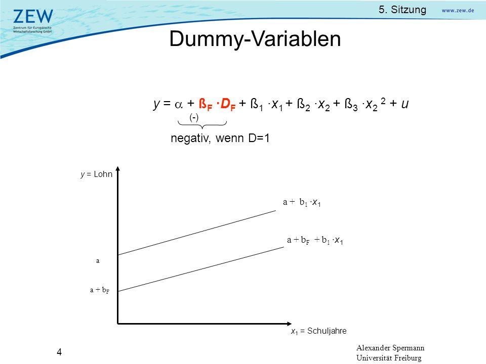 Dummy-Variablen y =  + ßF ·DF + ß1 ·x1 + ß2 ·x2 + ß3 ·x2 2 + u