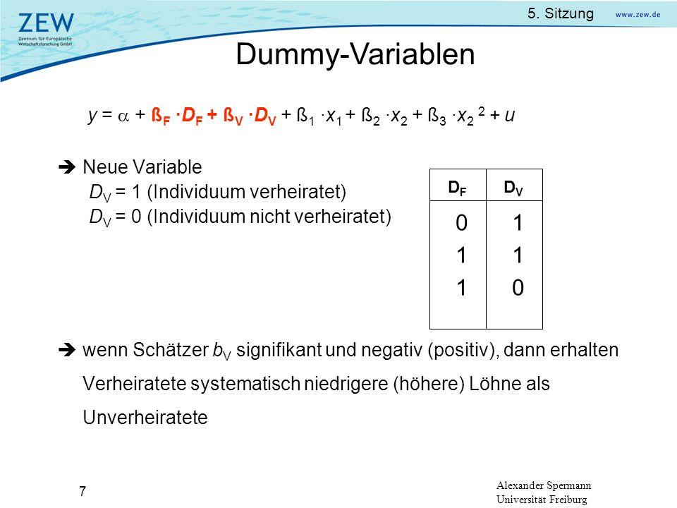 Dummy-Variablen 1 Neue Variable DV = 1 (Individuum verheiratet)