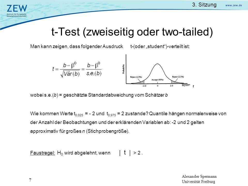 t-Test (zweiseitig oder two-tailed)