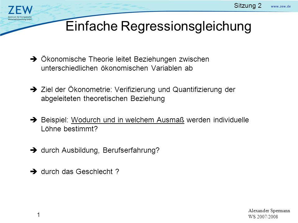 Einfache Regressionsgleichung