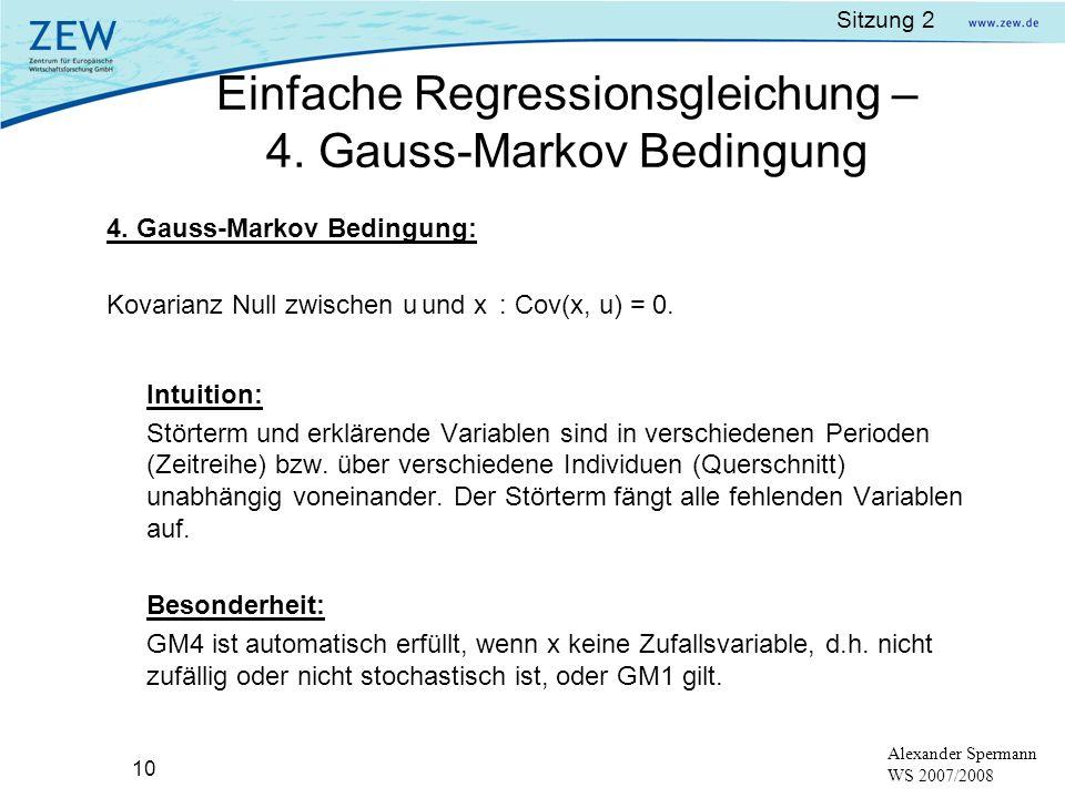 Einfache Regressionsgleichung – 4. Gauss-Markov Bedingung