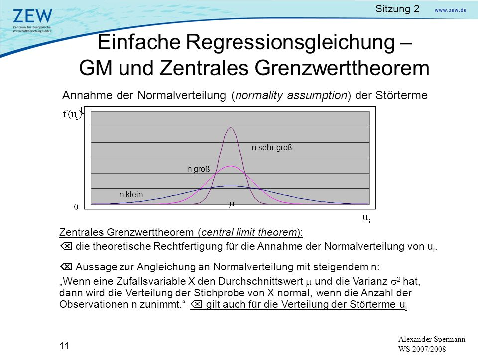 Einfache Regressionsgleichung – GM und Zentrales Grenzwerttheorem