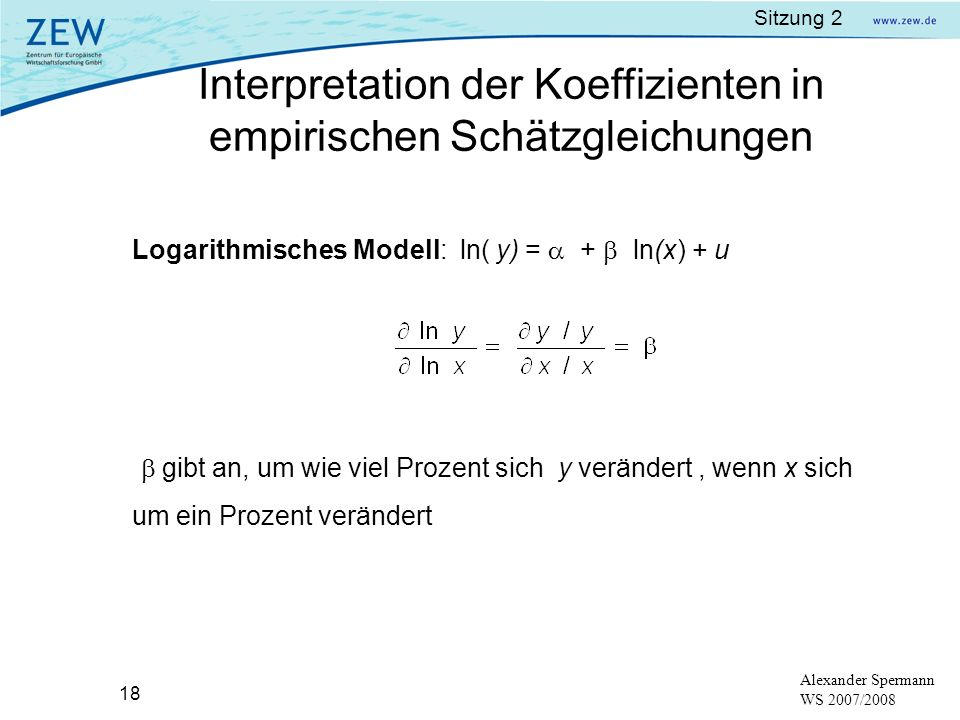 Interpretation der Koeffizienten in empirischen Schätzgleichungen