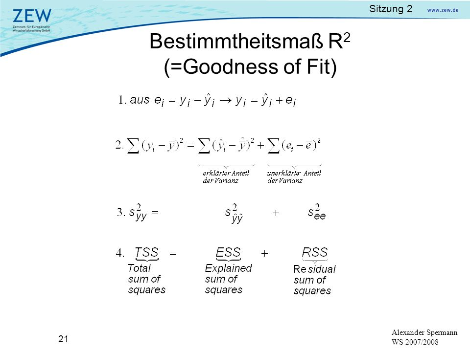 Bestimmtheitsmaß R2 (=Goodness of Fit)