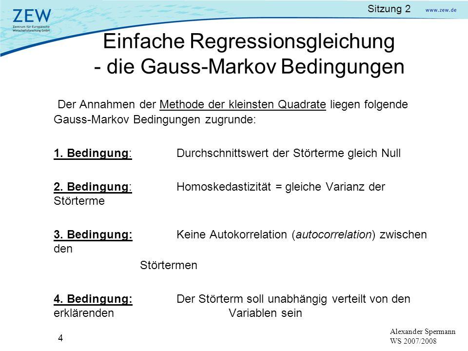 Einfache Regressionsgleichung - die Gauss-Markov Bedingungen