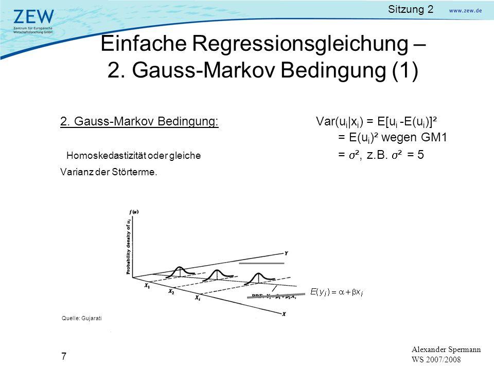 Einfache Regressionsgleichung – 2. Gauss-Markov Bedingung (1)