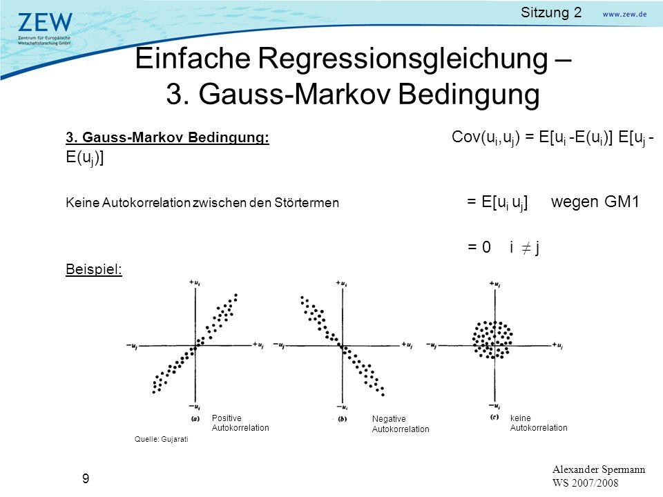 Einfache Regressionsgleichung – 3. Gauss-Markov Bedingung