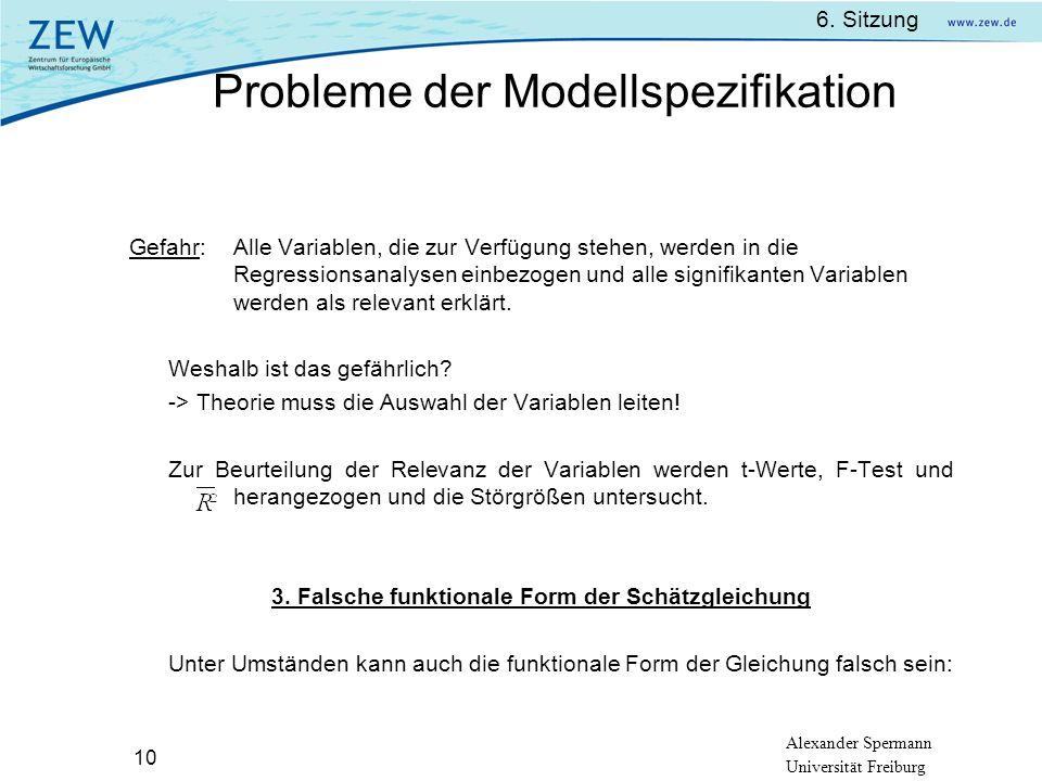 3. Falsche funktionale Form der Schätzgleichung