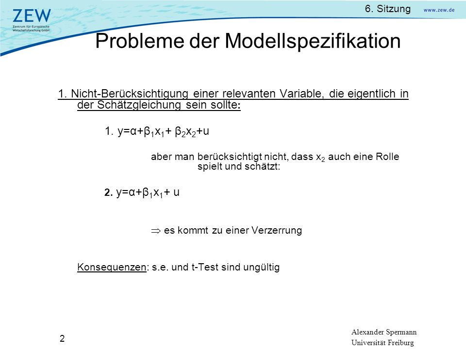 Probleme der Modellspezifikation