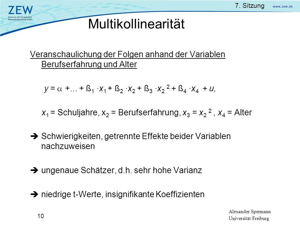 Multikollinearität Veranschaulichung der Folgen anhand der Variablen Berufserfahrung und Alter.