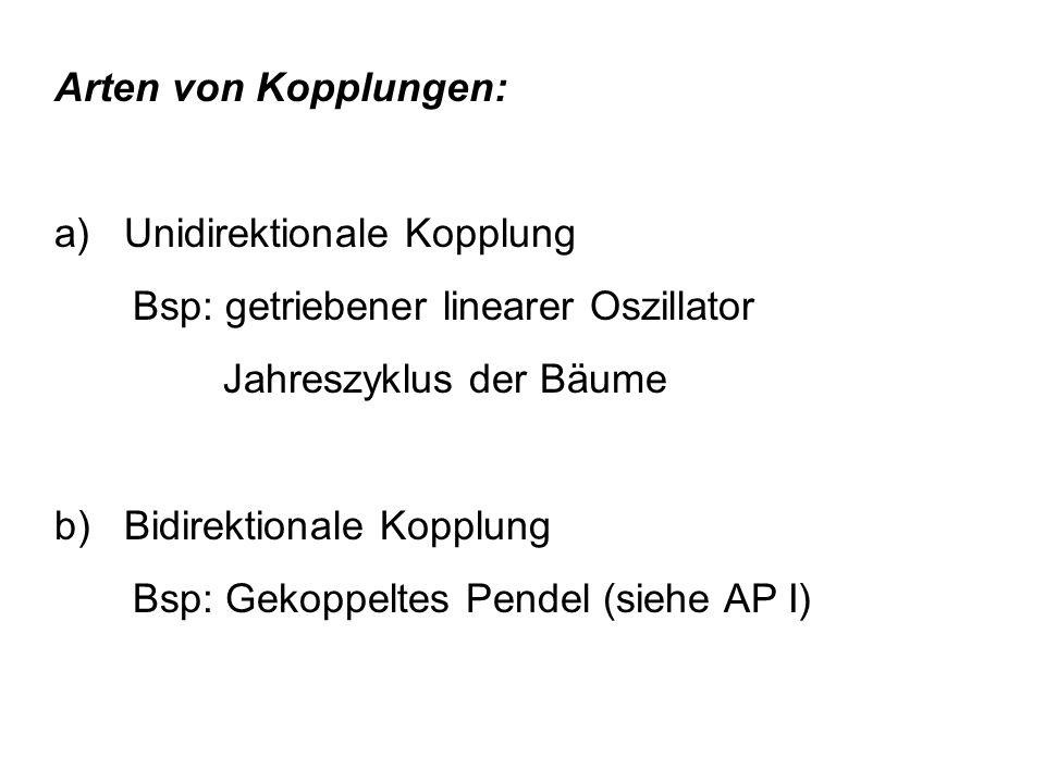 Arten von Kopplungen: a) Unidirektionale Kopplung. Bsp: getriebener linearer Oszillator. Jahreszyklus der Bäume.