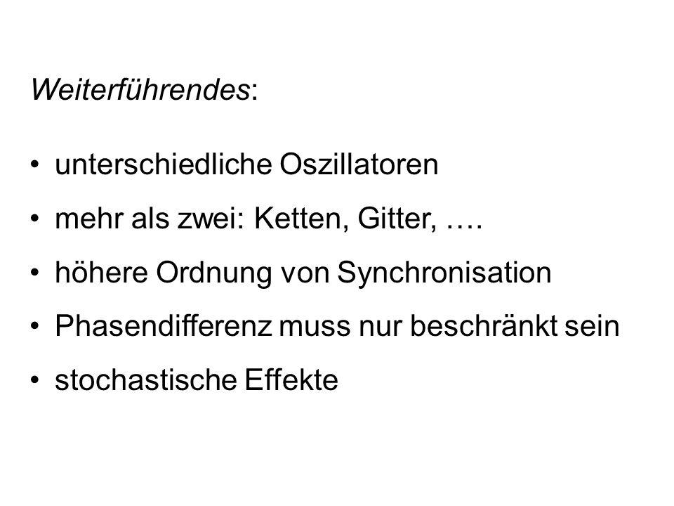 Weiterführendes: unterschiedliche Oszillatoren. mehr als zwei: Ketten, Gitter, …. höhere Ordnung von Synchronisation.