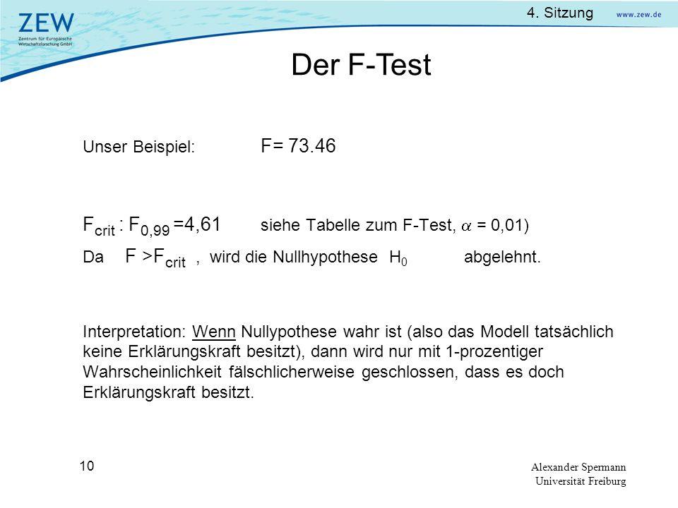 Der F-Test Fcrit : F0,99 =4,61 siehe Tabelle zum F-Test,  = 0,01)