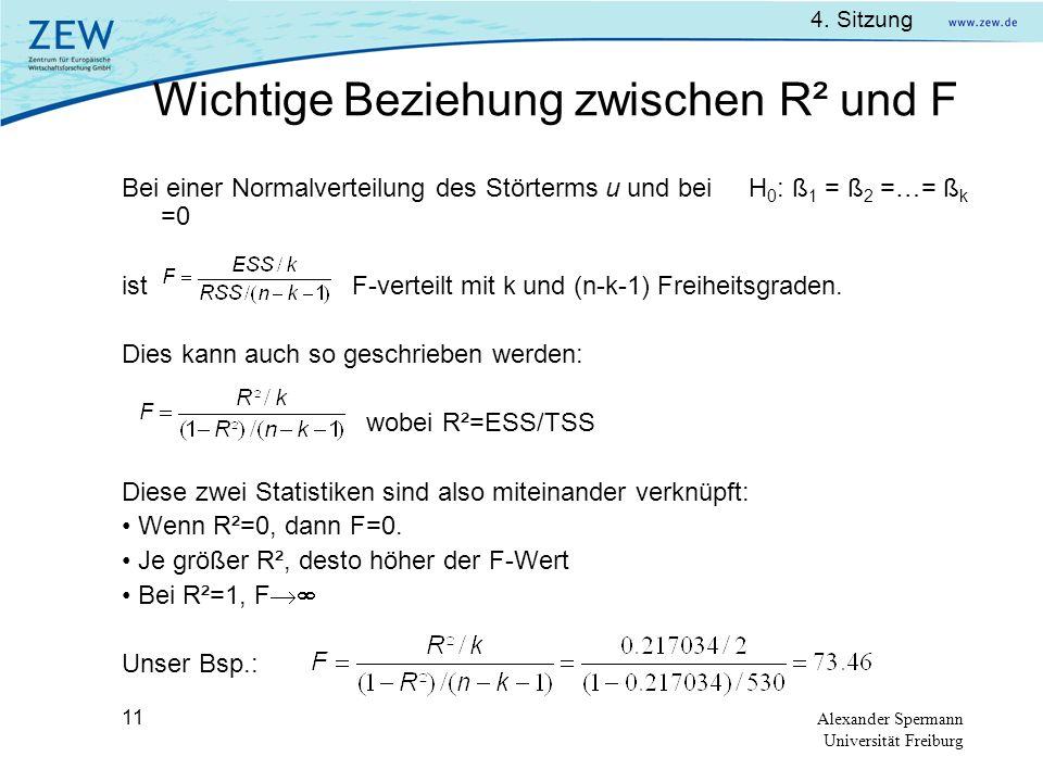Wichtige Beziehung zwischen R² und F