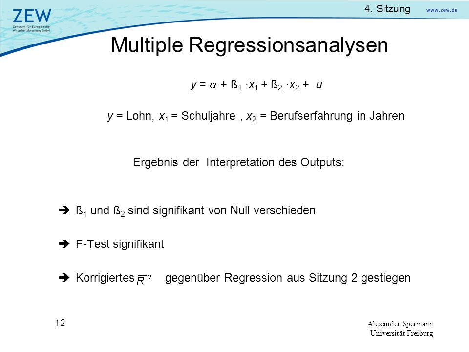 Multiple Regressionsanalysen