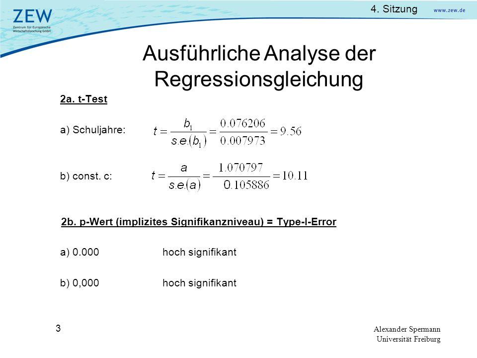 Ausführliche Analyse der Regressionsgleichung