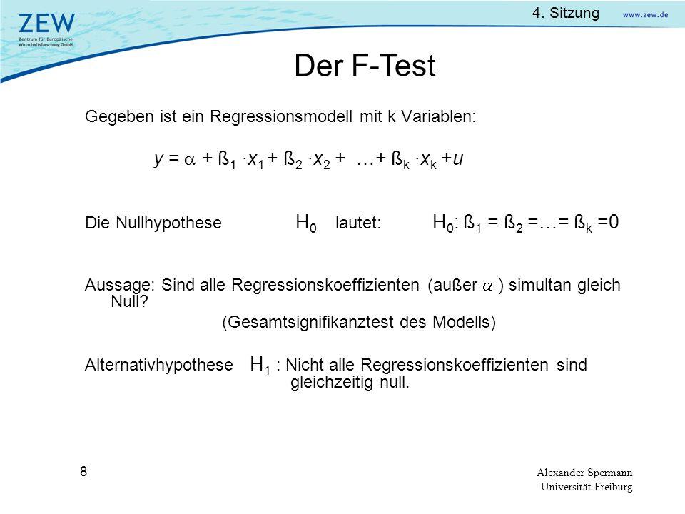 Der F-Test Gegeben ist ein Regressionsmodell mit k Variablen: