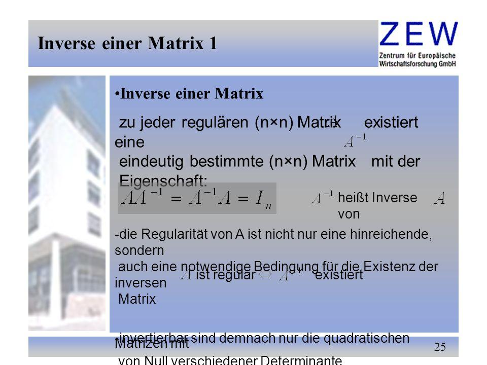 Inverse einer Matrix 1 Inverse einer Matrix