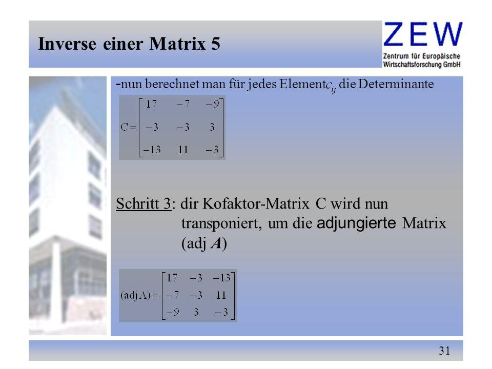 Inverse einer Matrix 5 -nun berechnet man für jedes Element die Determinante. Schritt 3: dir Kofaktor-Matrix C wird nun.