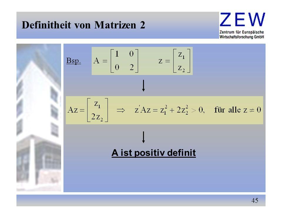 Definitheit von Matrizen 2