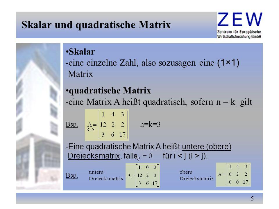 Skalar und quadratische Matrix