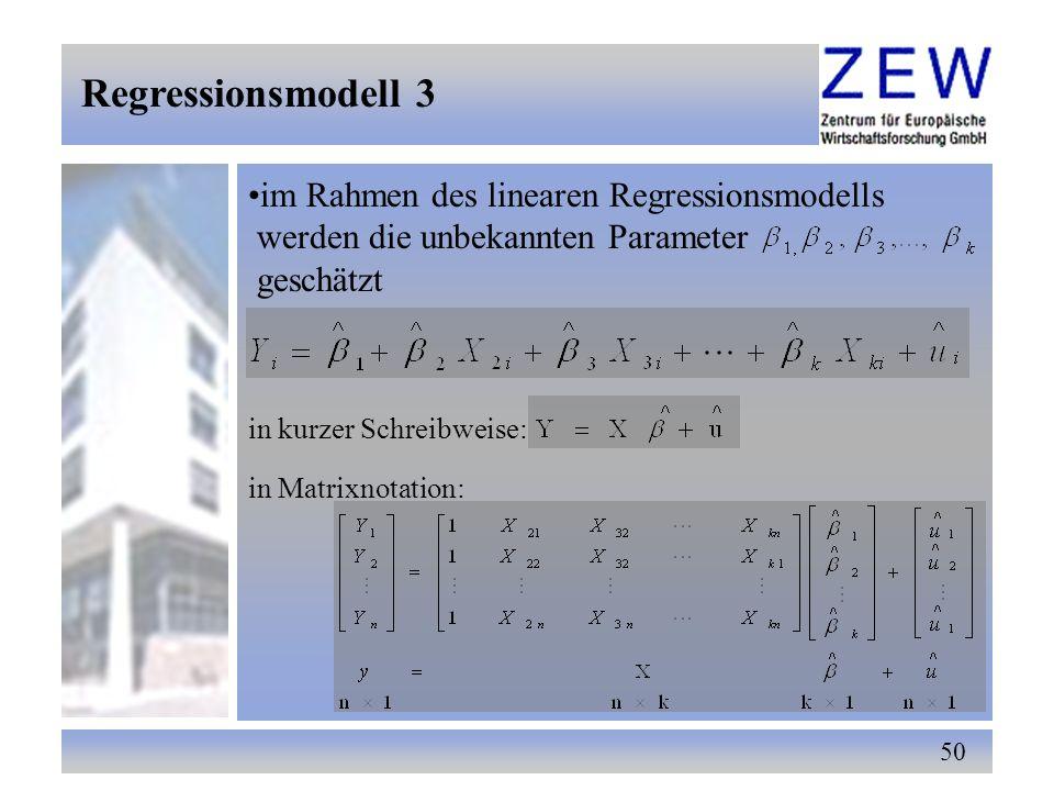 Regressionsmodell 3 im Rahmen des linearen Regressionsmodells