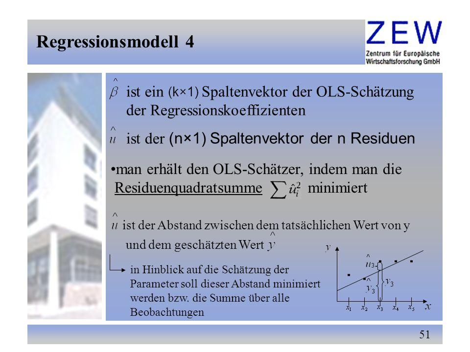 Regressionsmodell 4 ist ein (k×1) Spaltenvektor der OLS-Schätzung