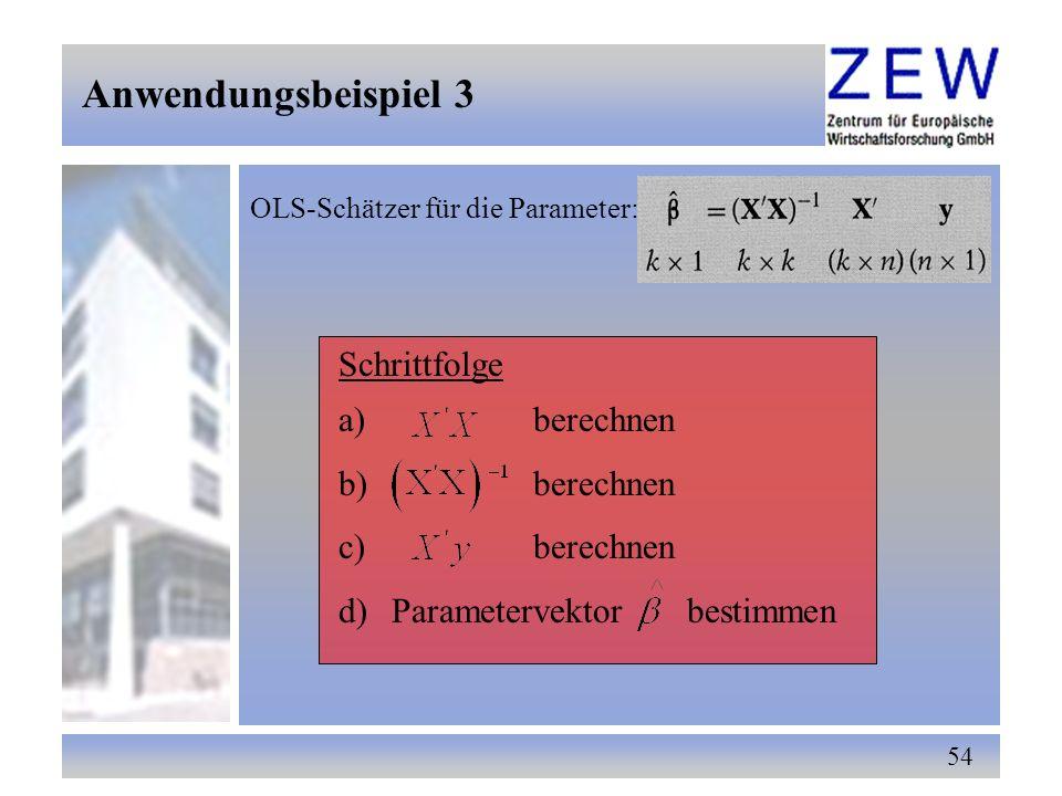 Anwendungsbeispiel 3 Schrittfolge berechnen Parametervektor bestimmen