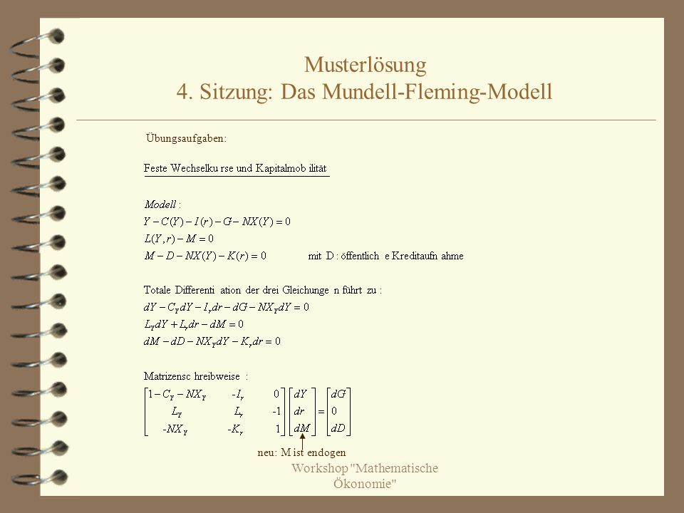 Musterlösung 4. Sitzung: Das Mundell-Fleming-Modell