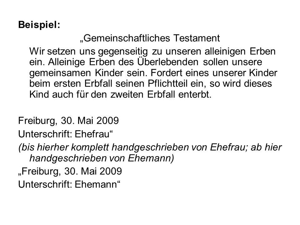 """""""Gemeinschaftliches Testament"""