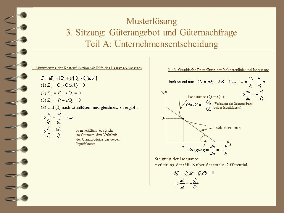Musterlösung 3. Sitzung: Güterangebot und Güternachfrage Teil A: Unternehmensentscheidung