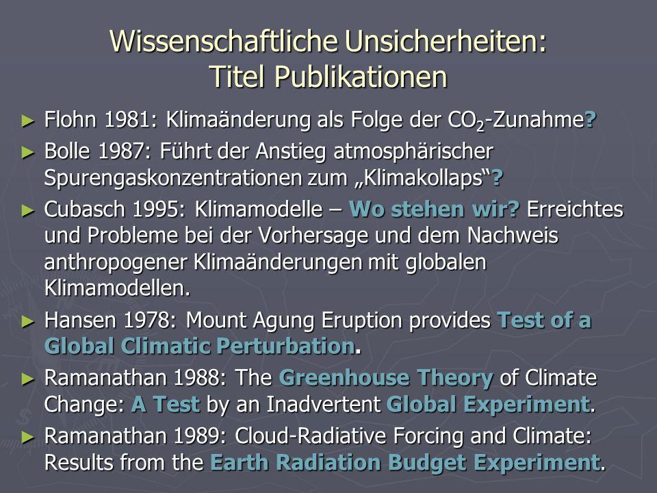Wissenschaftliche Unsicherheiten: Titel Publikationen