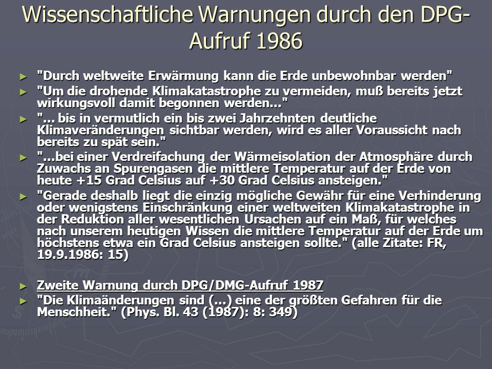 Wissenschaftliche Warnungen durch den DPG-Aufruf 1986