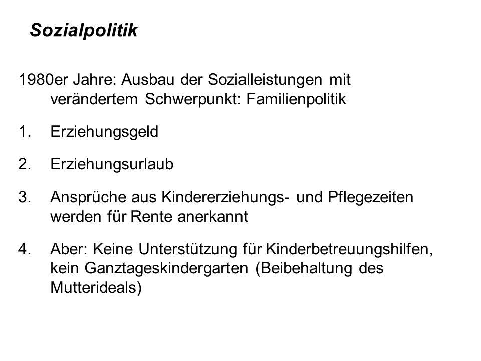 Sozialpolitik 1980er Jahre: Ausbau der Sozialleistungen mit verändertem Schwerpunkt: Familienpolitik.