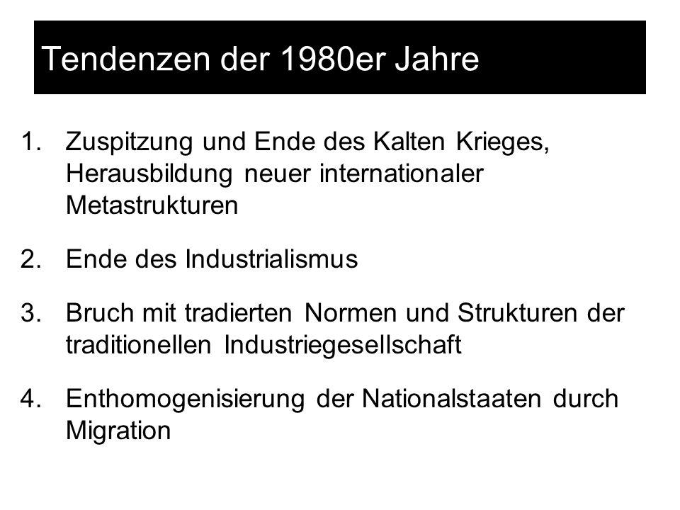Tendenzen der 1980er Jahre Zuspitzung und Ende des Kalten Krieges, Herausbildung neuer internationaler Metastrukturen.