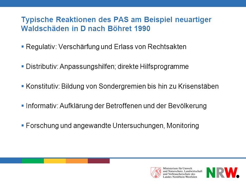 Typische Reaktionen des PAS am Beispiel neuartiger Waldschäden in D nach Böhret 1990