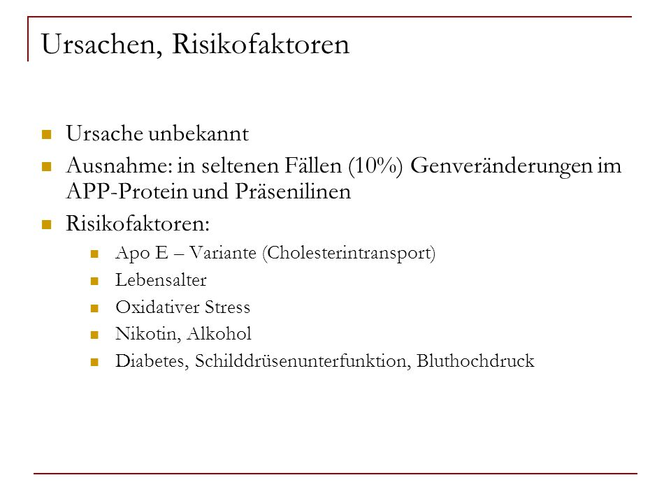 Ursachen, Risikofaktoren