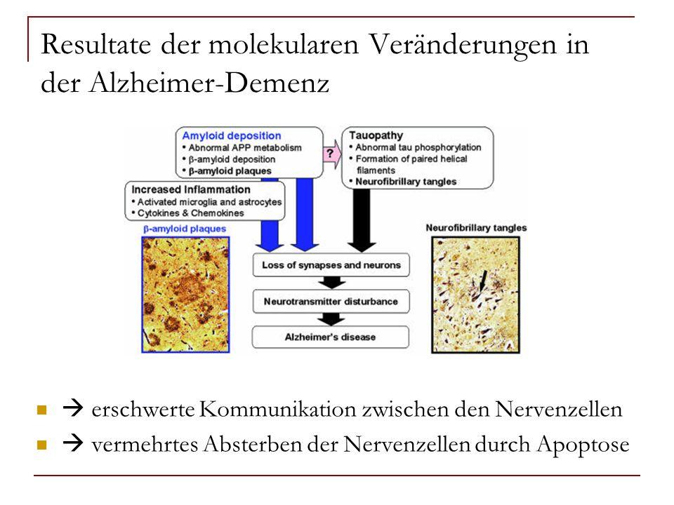 Resultate der molekularen Veränderungen in der Alzheimer-Demenz