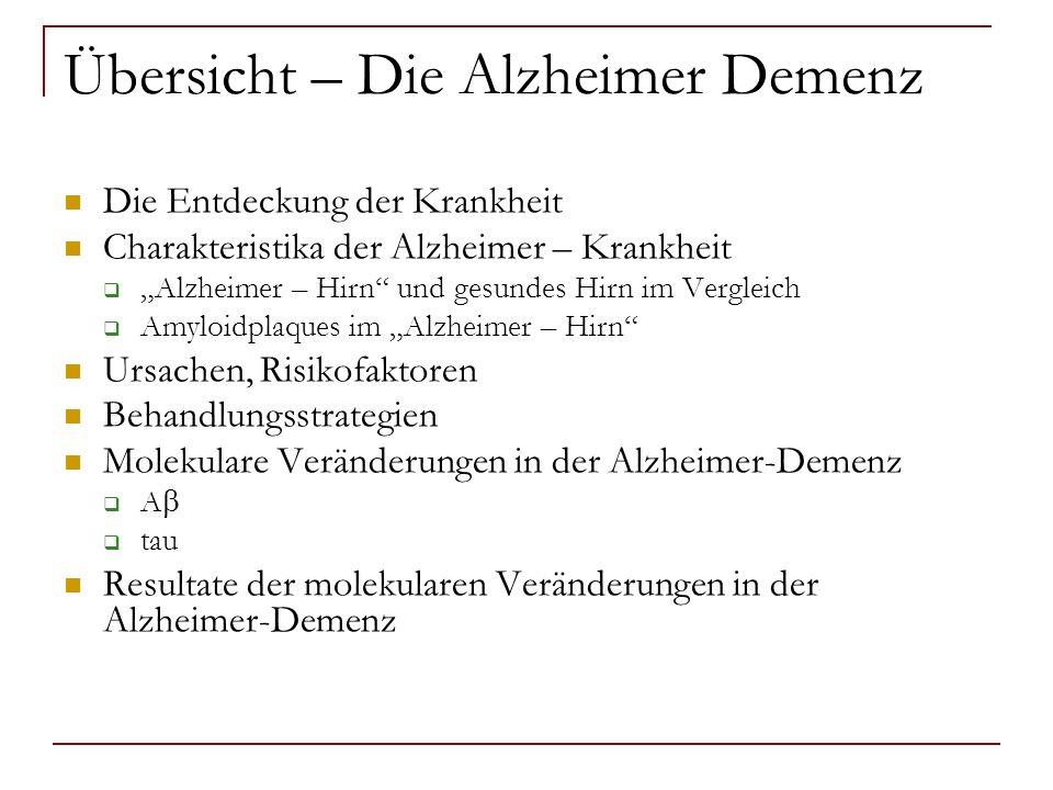Übersicht – Die Alzheimer Demenz