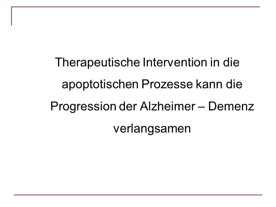 Therapeutische Intervention in die apoptotischen Prozesse kann die Progression der Alzheimer – Demenz verlangsamen