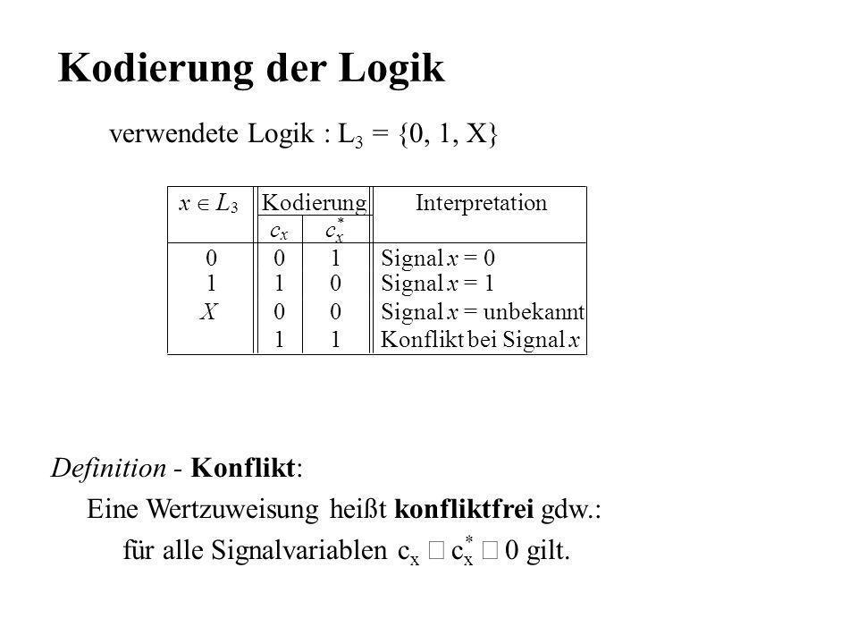 Kodierung der Logik verwendete Logik : L3 = {0, 1, X}