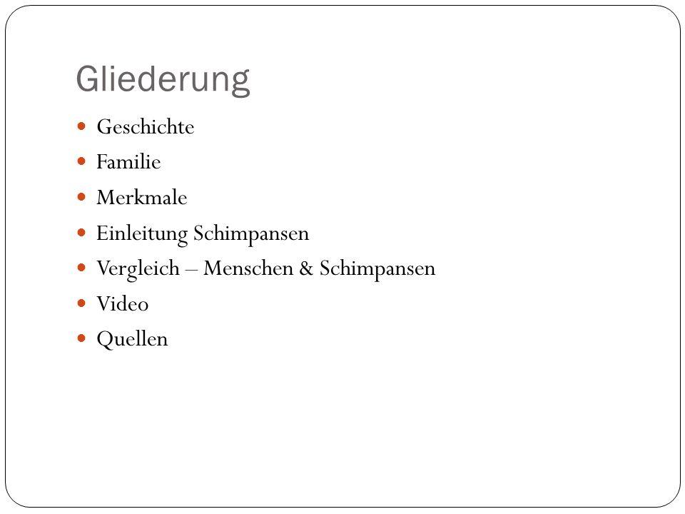 Gliederung Geschichte Familie Merkmale Einleitung Schimpansen